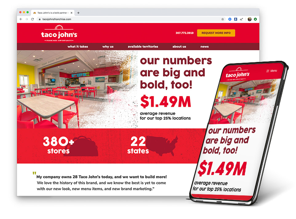 Taco John's Franchise Website