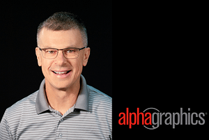 Steve Webb AlphaGraphics logo split screen
